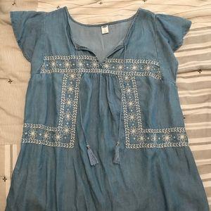 Chambray short-sleeved shirt
